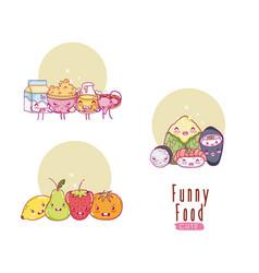 cute and funny food kawaii cartoons vector image vector image