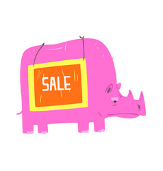 cute cartoon pink rhinoceros with sale sign board vector image