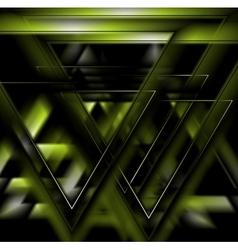 Dark green tech futuristic triangles background vector image