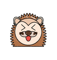 Drawing porcupine face animal vector