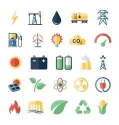 Energy electricity power flat icons vector image