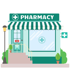 Facade pharmacy store with a signboard awning vector