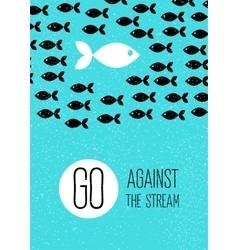 Fish swims against stream creative blue flat vector