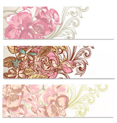 floral backgrounds set with flowers vector image