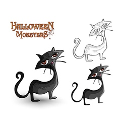 Halloween monsters spooky back cat EPS10 file vector