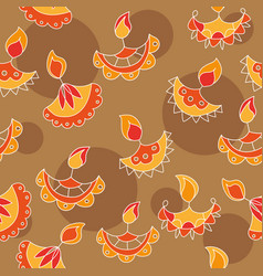 hand drawn seamless pattern with diwali vector image