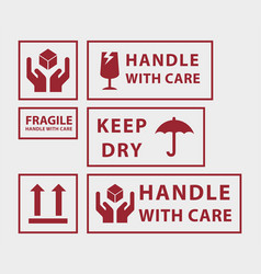 handle with care icons vector image