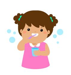 Happy girl brushing teeth cartoon vector