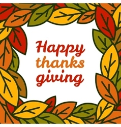 Happy thanksgiving day leaves frame vector