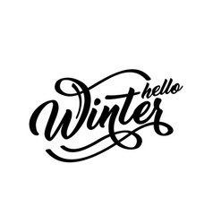 hello winter handlettering inscription winter vector image