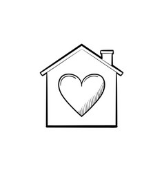 house with heart hand drawn outline doodle icon vector image
