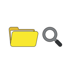 icon concept opened folder with magnifying vector image
