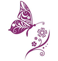 inwrought butterfly silhouette and flower vector image