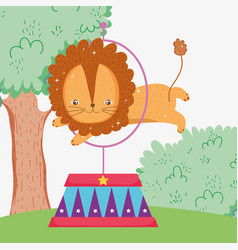 Lion jumping the hoop to circus entertainment vector