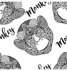 Monkey head seamless pattern with text vector