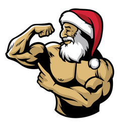 muscle santa claus show his body vector image