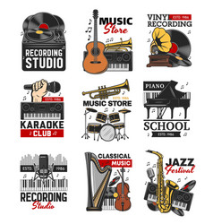 music icons instruments microphone vinyl record vector image