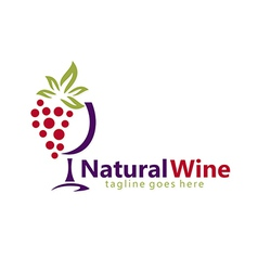 Natural wine abstract logo vector