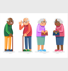 old people grandmother grandfather adult flat vector image