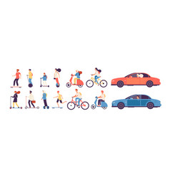 people riding man woman with electric vehicles vector image