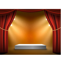 Podium stage background red curtains show vector