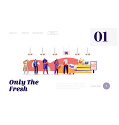 Queue in grocery landing page template customers vector