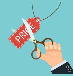 Scissors cut price tag vector
