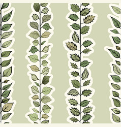 Seamless pattern green leaves vector