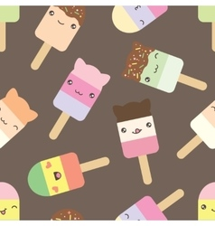 Seamless pattern of cute kawaii style ice cream vector image