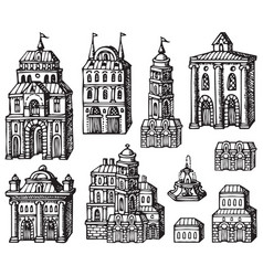 Set hand drawn houses old style building vector