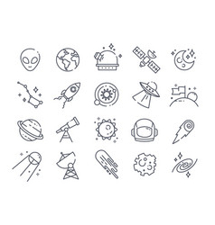 set line drawn black and white space icons vector image