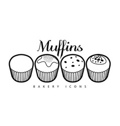 Set of bakery muffins vector