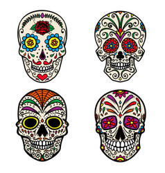 Set of colorful sugar skull isolated on white vector