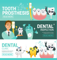 Set of horizontal web banners with such dental vector