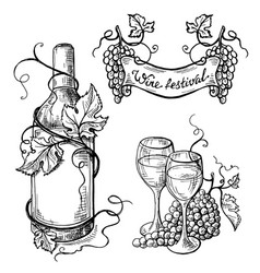 Set of wine bottle and wineglasses ribbon vector