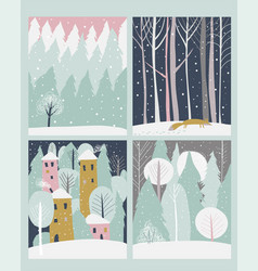 set winter lanscape in flat style vector image