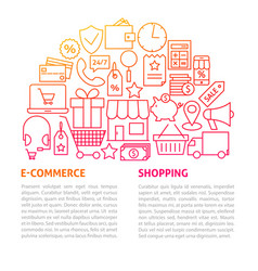 shopping commerce line template vector image