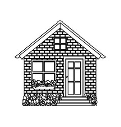 Silhouette comfortable facade small house with vector