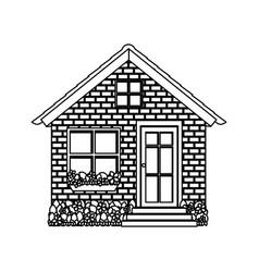 Silhouette comfortable facade small house with vector