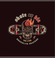 skateboarding skull emblem vector image