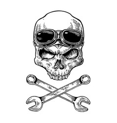 skull smiling with glasses for motorcycle on vector image