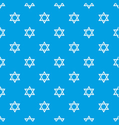 star david judaism pattern seamless blue vector image