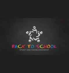students in chalk black board back to school vector image