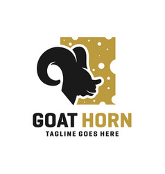 sun goat head horn logo vector image