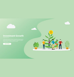 team growing investment website template page vector image