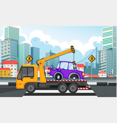 Tow truck lifting car on road vector