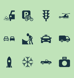 transport icons set with taxi road work loose vector image