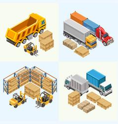 Trucks and forklift near cargo vector