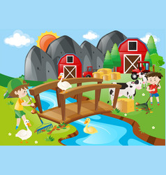 Two boys and many animals in the farm vector