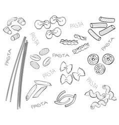 Types of pasta - hand-drawn vector